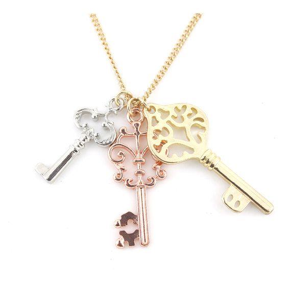 Simple Triple Keys Pendant Necklace,Chains color selectable,A15