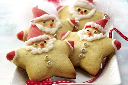 Santa clause cookies made from our star cookie cutter