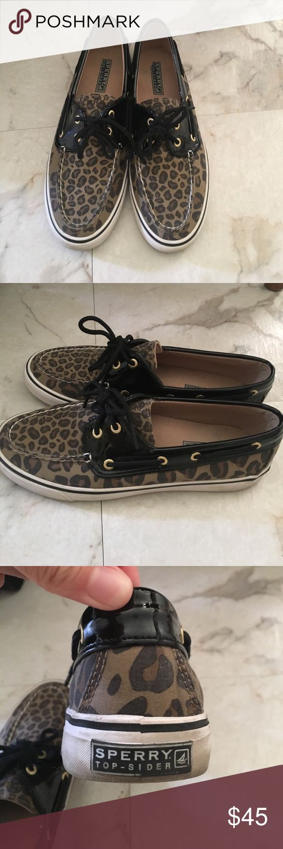 Leopard Sperry top siders Leopard Sperry top sliders - good condition - soles a little dirty (see photos) Sperry Top-Sider Shoes Flats & Loafers