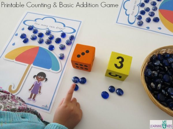 Printable Counting and Basic Addition Game numbers 1 -20