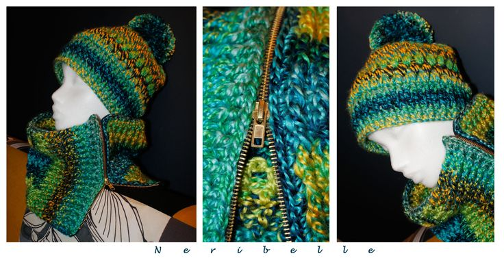Crochet bobble hat and neck warmer with zip More knitwear : https://www.facebook.com/pages/Neribelle/180901425396019?ref=hl