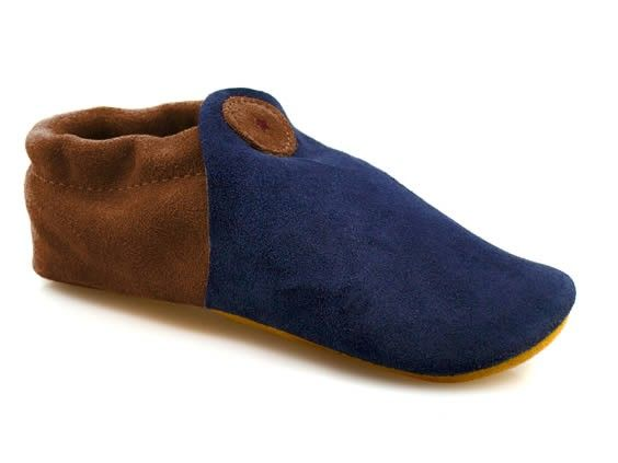 Blue and Brown Suede Moccasin Slipper for Adults