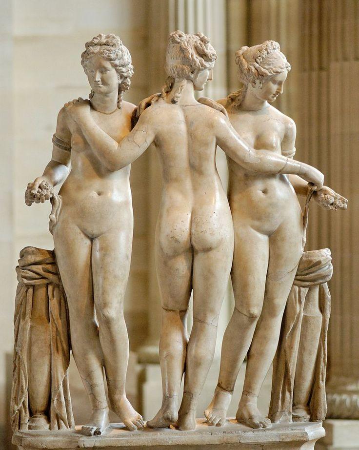 Three Graces (Charites), Roman statue (marble) copy of Hellenistic original, 2nd century AD, (Musée du Louvre, Paris).