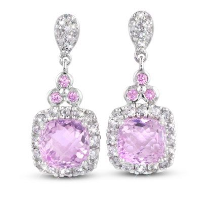 "Moi Moi Fine Jewellery - JUSTYNE K   ""Justyne K"" Earrings 2x 8mm Cushion Kunzite, 7.36ct each 6 x Pink Sapphires, 0.26tcw 52 x White Sapphires, 1.08tcw"