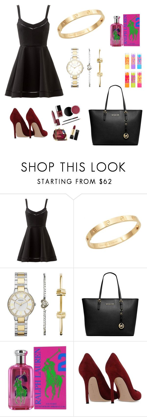"""""""Outfit #7"""" by mariachun on Polyvore featuring Elizabeth and James, Cachet, FOSSIL, MICHAEL Michael Kors, Ralph Lauren, Gianvito Rossi and Maybelline"""