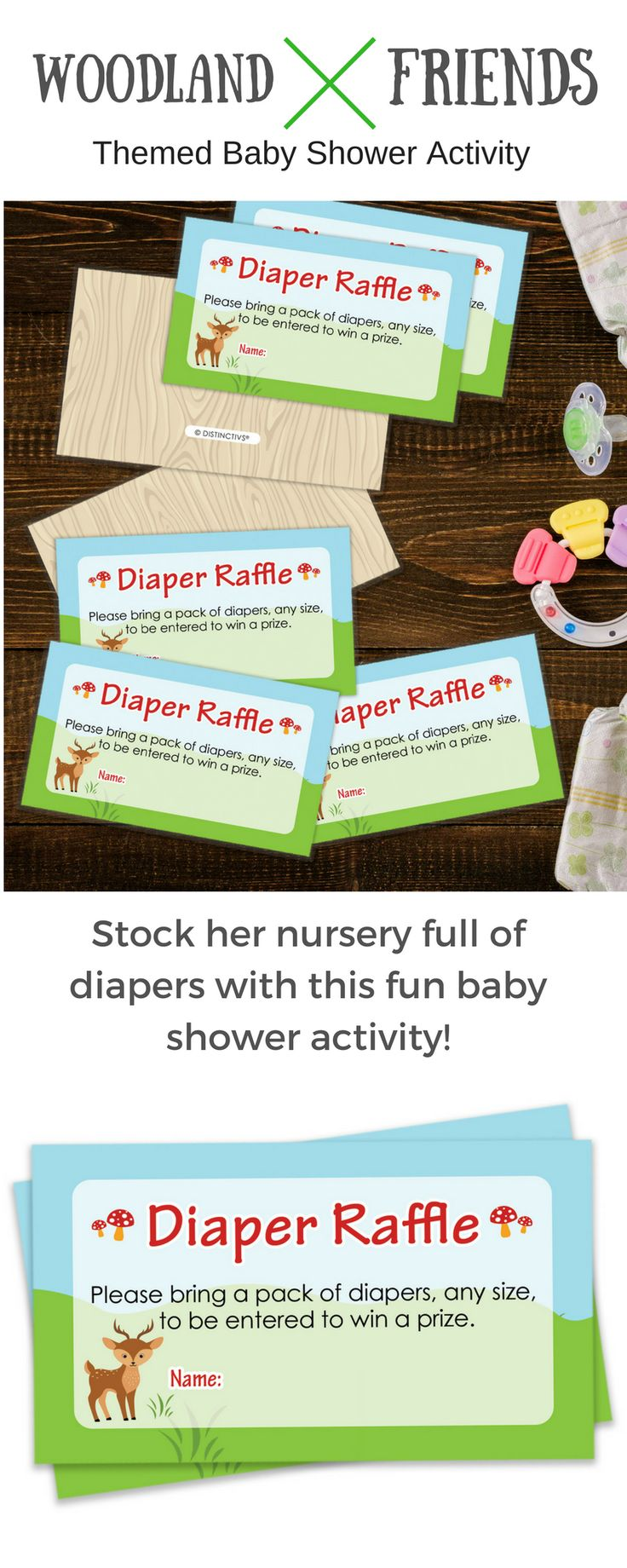 TheseWoodland AnimalsThemedDiaper Raffle Cards are perfect tosend with invitationsfor yourOutdoor Baby Shower, Boy Baby Shower, or Gender Neutral Baby Shower.