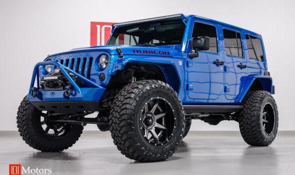 2015 Jeep Wrangler Unlimited Hardtop   Hydro Blue Pearl / Custom Mojave Leather   101 Motors Media