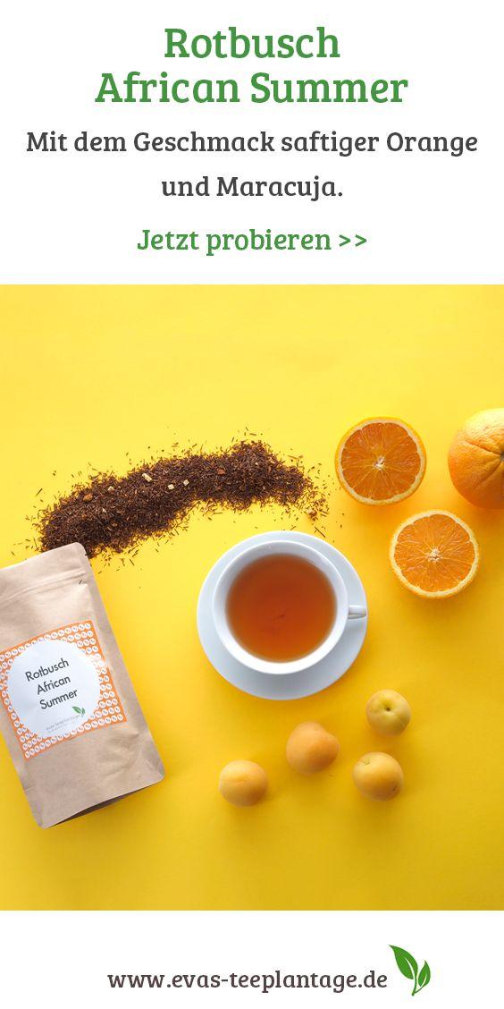 Rotbuschtee mit dem Geschmack saftiger Orange und Maracuja.