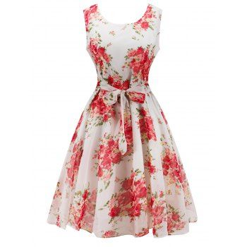 SHARE & Get it FREE | Retro Belted High Waisted Flowers DressFor Fashion Lovers only:80,000+ Items·FREE SHIPPING Join Dresslily: Get YOUR $50 NOW!