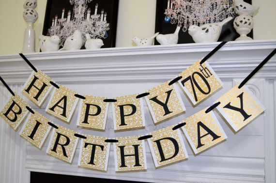 Happy Birthday banner, black gold damask 70th Birthday banner decoration, Unisex Birthday Party decor, Golden 60th 80th 90th Birthday sign