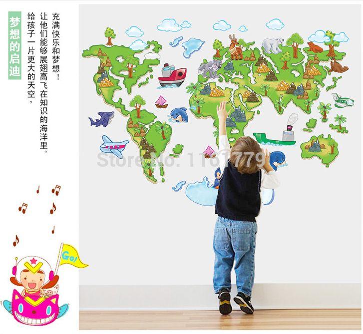 """זול משלוח חינם ! ! ABC1001 מפת עולם הגעה חדשה cartoon וול מדבקת משתלת קיר קישוט 60 * 90 ס""""מ, לקנות איכות מדבקות קיר ישירות מספקי סין:"""