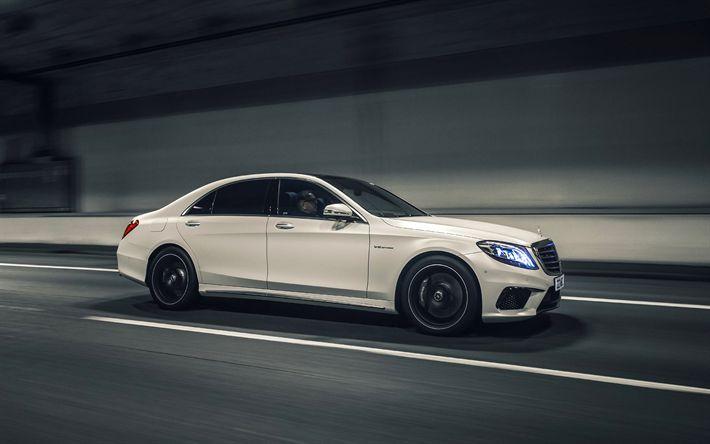 Download imagens 4k, A Mercedes-Benz S63 AMG, 2017 carros, estrada, ajuste de S-classe, Carros alemães, w222, Mercedes