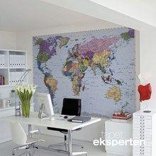 Fototapet - Verdenskort til væg 188 x 270 cm. Flot verdenskort i farver.