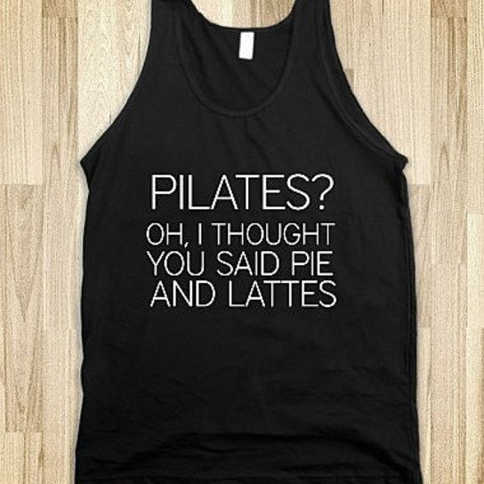 Pilates Oh I Thought You Said Pie and Latte from Glamfoxx - Products tagged with tops, womensapparel