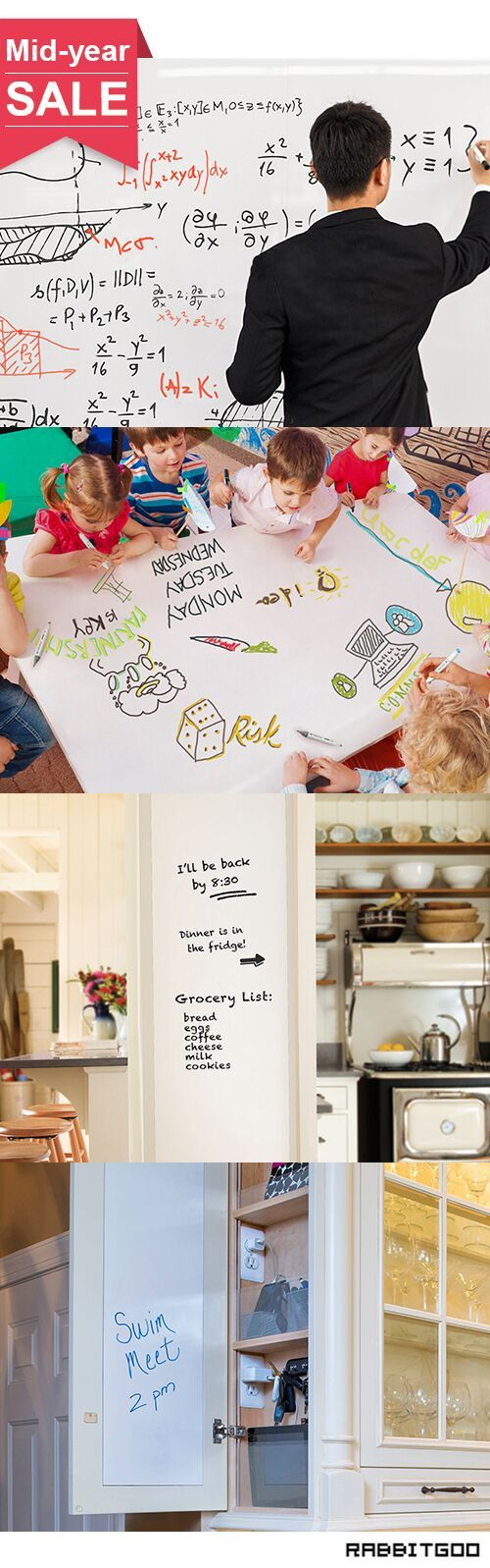 @rabbitgooing Rabbitgoo Self-Adhesive Wall Sticker Wall Paper Whiteboard Sticker Chalkboard Contact Paper (White) 17.7 by 78.7 Inches with 1 Marker Pen for School/ Office/ Home (for Water-based Marker Pen)