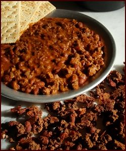 How to Make Chili... from what to do at home, to how to prepare on the trail!  serve with Pilot bread or those spicy potato cakes or grit cakes or shortbread that i have pinned.