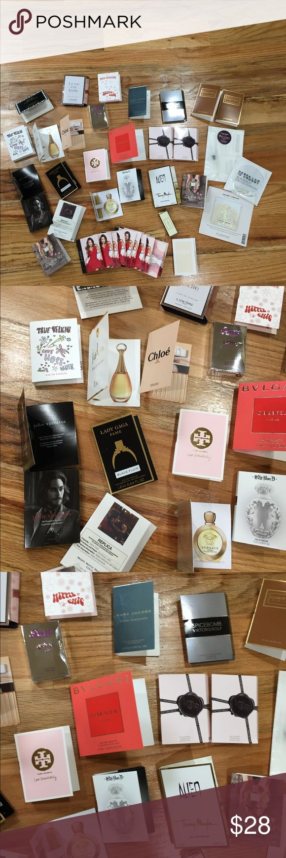 Bundle of 38 New Perfume Samples Bundle of 38 New Perfume Samples. Includes everything you see in pics. Tory burch, Versace, Spicebomb, Marc Jacobs, Alien, Elizabeth and James, Chloe, more Makeup