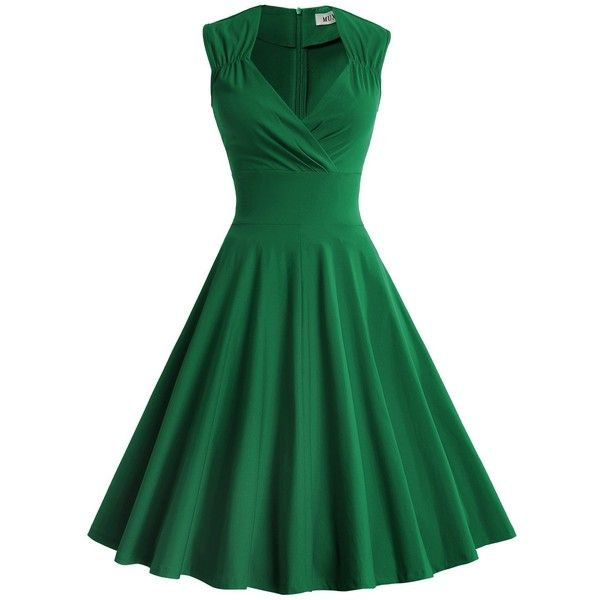 MUXXN Women's 50s 60s Vintage Sexy V-neck Swing Dress ($20) ❤ liked on Polyvore featuring dresses, cocktail dresses, sexy evening dresses, sexy evening cocktail dresses, sexy green dresses and evening dresses