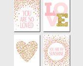 Conjunto de impresiones infantiles que eres tan querido imprimir eres mi sol vivero rosa oro decoración bebé niña guardería imprime conjunto de 4 regalos de bebé