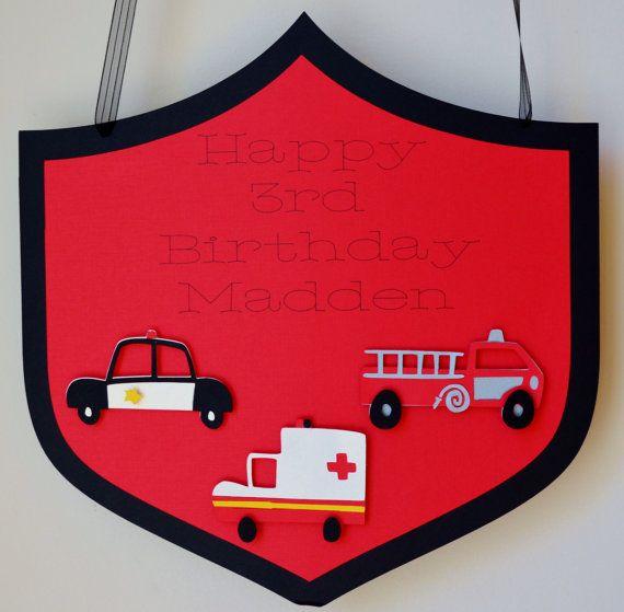 Fire emergency birthday door sign police by for Idea fire door
