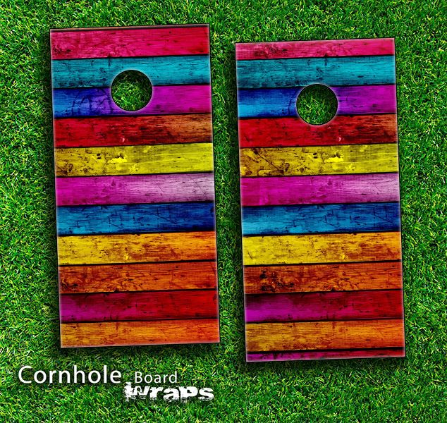 neon wood planks skin set for a pair of cornhole boards