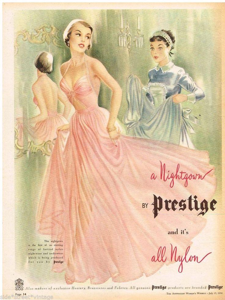 PRESTIGE AD NIGHTGOWN  LADIES LINGERIE  Vintage Advertising 1950 Original Advert