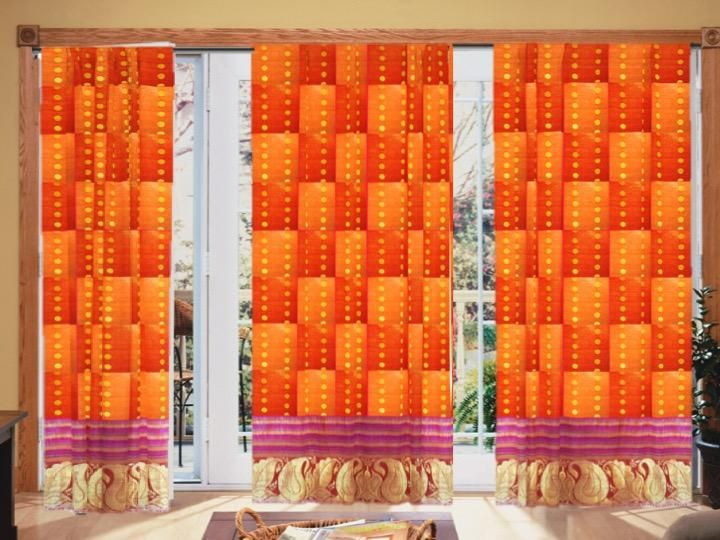 Fall colors decor- curtains or drapes. Holiday gift. Ethnic Indian. Or – Artikrti