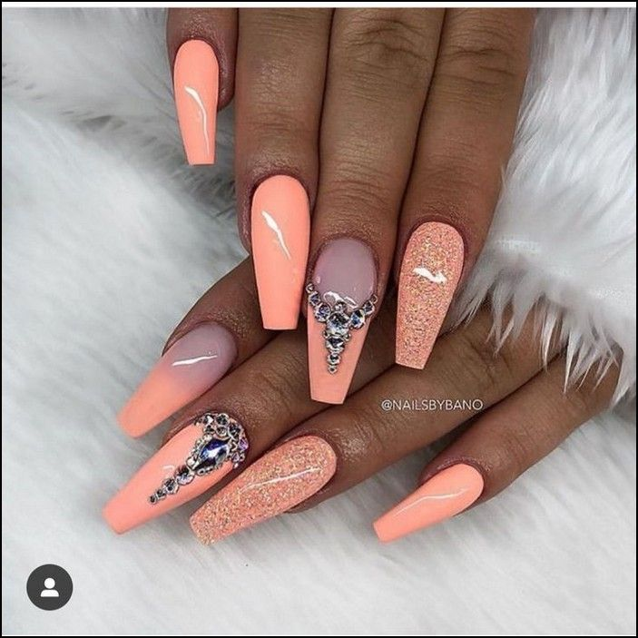 2020 Summer Seasonal Long And Short Acrylic Polished Matte And Coffin Nail Designs Page 24 Myblogika Com Coffin Nails Designs Peach Nails Perfect Nails