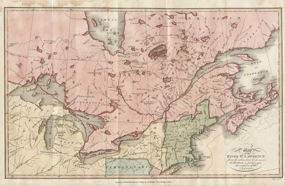 Vintage Print of New York Canada MA New England Map by ClavinInc