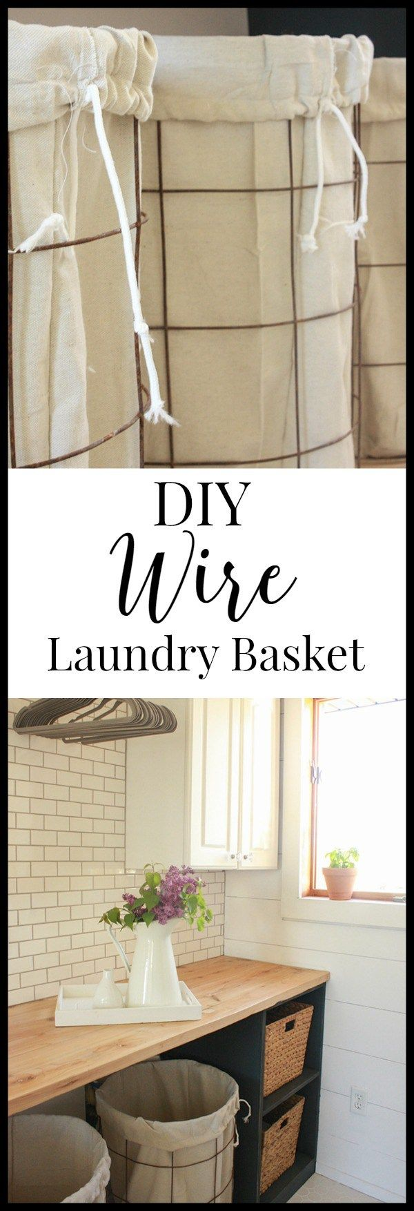 DIY wire laundry baskets with drop cloth liners.  These were made in one afternoon and cost less than 40 dollars! #TwelveOnMain #laundrybaskets #diyproject #rusticdecor