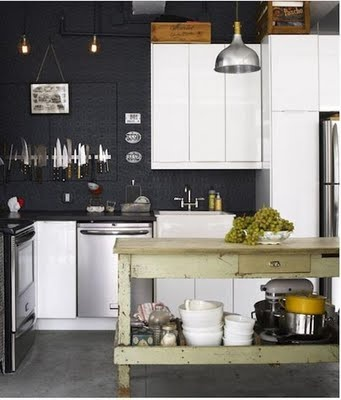 Style-ING w/ CHILDREN: Painted Wallpaper Backsplash: Kitchens, Ideas, Interior, Inspiration, Black Walls, Kitchen Design, House