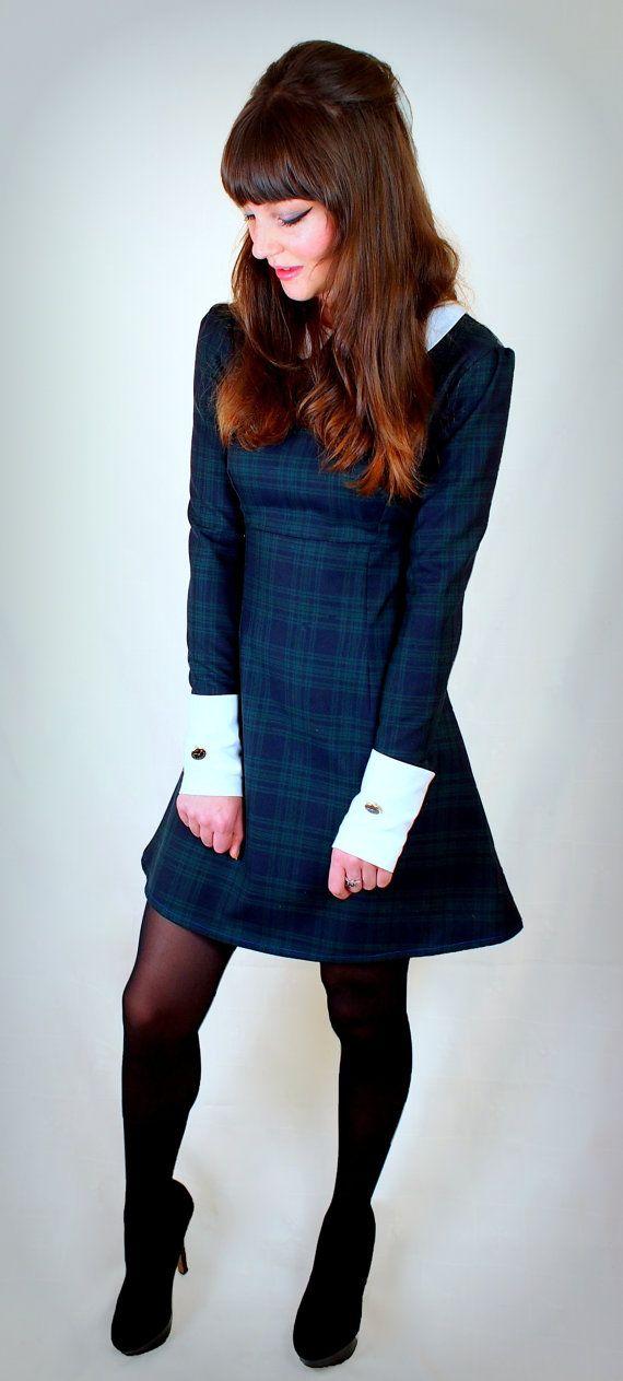 1960 riproduzione Tartan Mod Dress, contrasto Peter Pan colletto e polsini