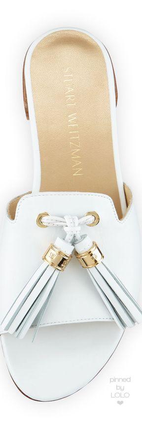 Stuart Weitzman Two Tassels Leather Flat Slide Sandal | LOLO❤︎