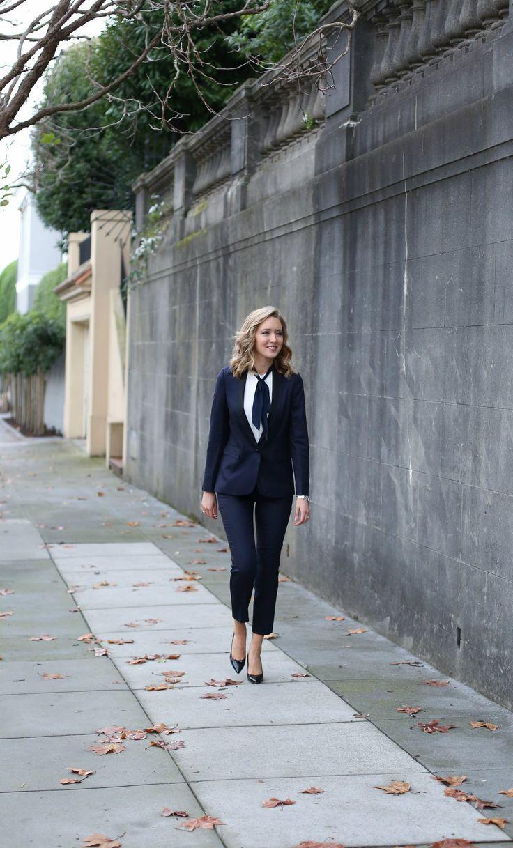 navy black women's tuxedo suit ivory navy tie neck blouse cuffs silver watch work wear office style women memorandum mary orton 2