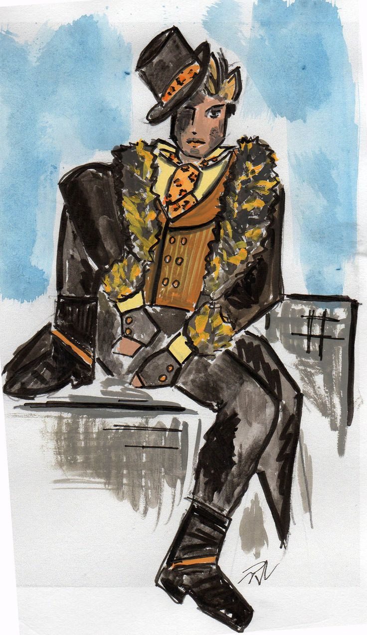 Rum Tum Tiger concept drawing by Trish Chamberlain for Blue Mountains Musical Society production of Cats