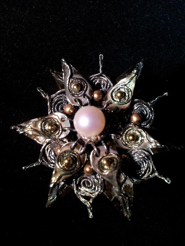 Sleeping Beauty. Made of artclay silver copper, nmg, natural pearl