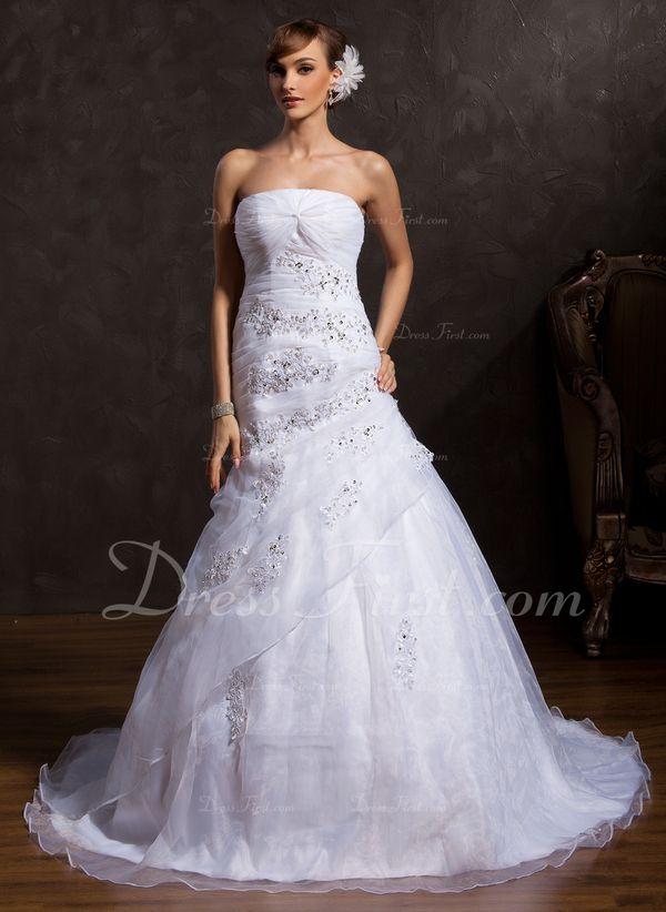 Plesové Bez ramínek Kostelní vlečka Organza Svatební šaty S Volán Krajka Flitry (002015164) - DressFirst