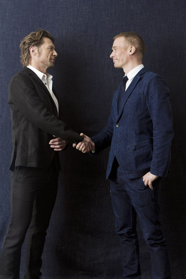 Design Forum Finland CEO Mikko Kalhama and actor Antti Reini meet over FRENN photoshoot. Both wearing #FRENN #Timeless #denim and #linen #classics.