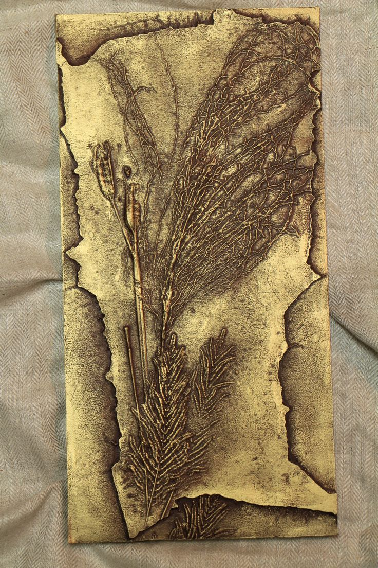 Bas relief wall sculpture Autumn grasses and ferns Original art piece Unique home decor office decor Nature enthusiast gift idea gold tile by SyzymStudio on Etsy