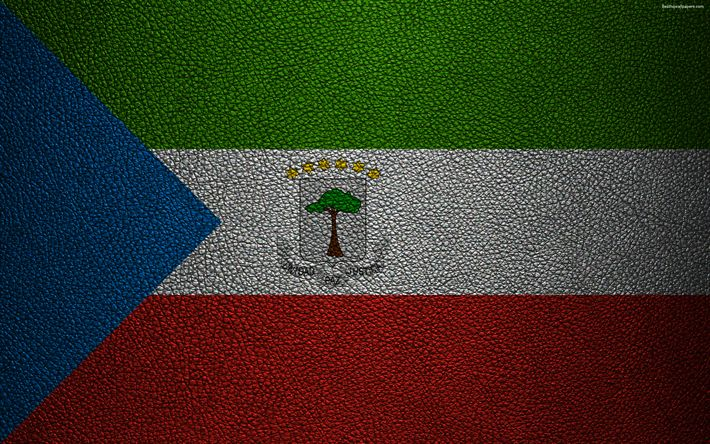 Download wallpapers Flag of Equatorial Guinea, Africa, 4k, leather texture, flags of African countries, Equatorial Guinea