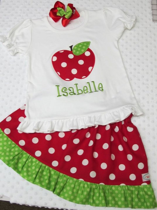 Applique  - apple with matching skirt