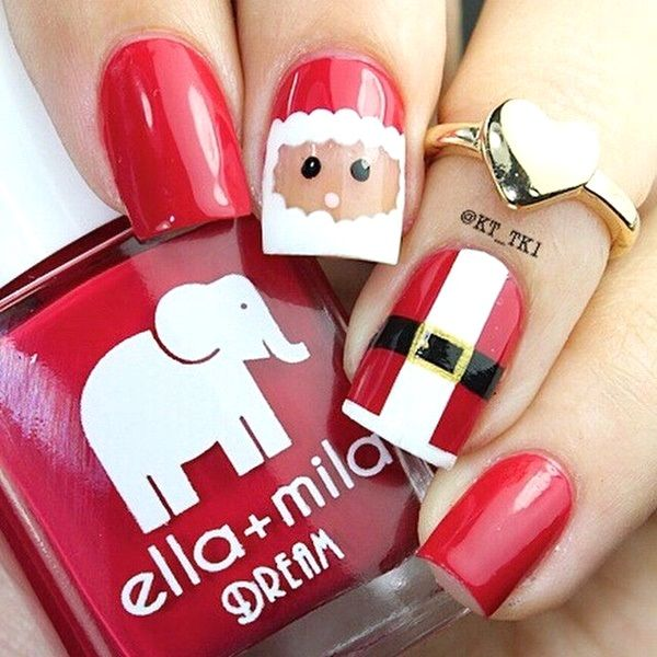 Santa Christmas Nail Art Designs Though fat Santa Claus could not be found in the bible, he was introduce to us by our society. He was believed to deliver gifts to the good kids around the globe. He passes through the chimney and goes everywhere via his sleigh with his reindeer led by Rudolph. His mustache and beard are dominant on his face.  Read more at: