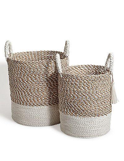 Raffia + Seagrass Set Of 2 Round Baskets | M&S