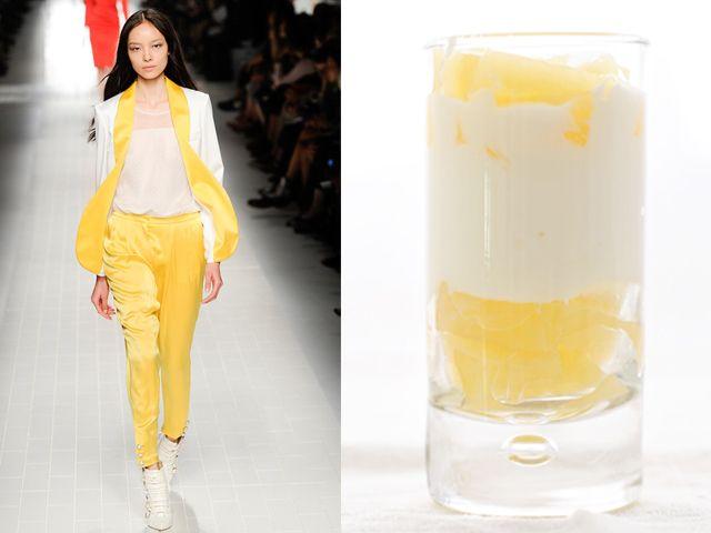 Tuxedo Elegance - Blumarine Spring Summer 2014 • Ricotta cheese and pineapple mousse via @Anna Hartman of Runway