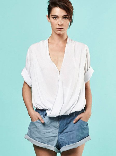 MLM - Ziggy Top - White - Front Drape - Roll Up Sleeves  $119.90