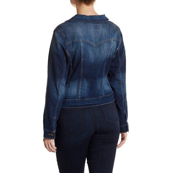 Jessica Simpson Pixie Long Sleeve Denim Jacket (Plus Size) ($40) ❤ liked on Polyvore featuring plus size women's fashion, plus size clothing, plus size outerwear, plus size jackets, plus size, women's plus size denim jacket, jean jacket, flap jacket, blue jean jacket and long sleeve jacket