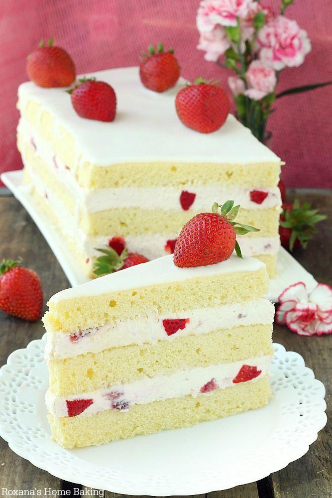 Strawberry shortcake cake recipe from Roxanashomebaking.com #strawberry