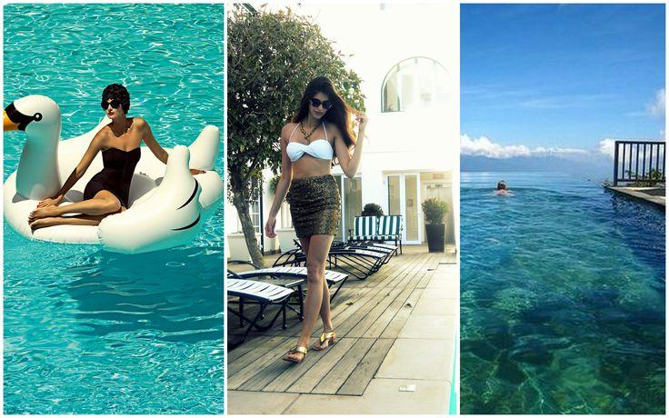 Hotel poolside-luxe in a @scarlettswimwear bandeau bikini