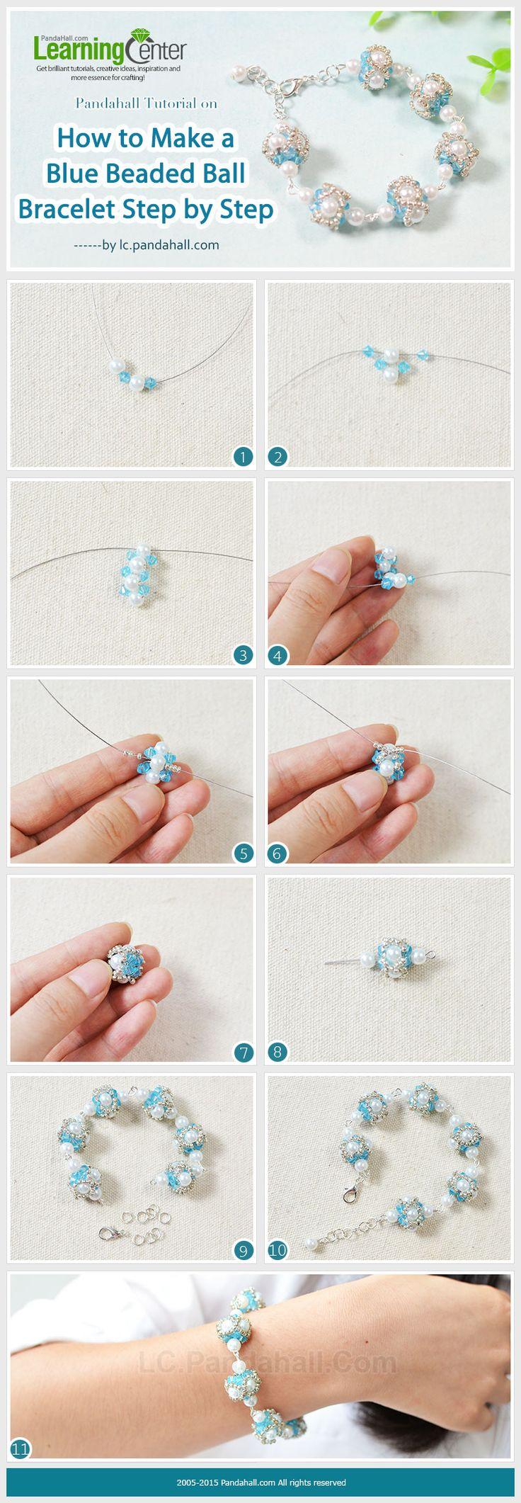 Pandahall Tutorial on How to Make a Blue Beaded Ball Bracelet Step by Step