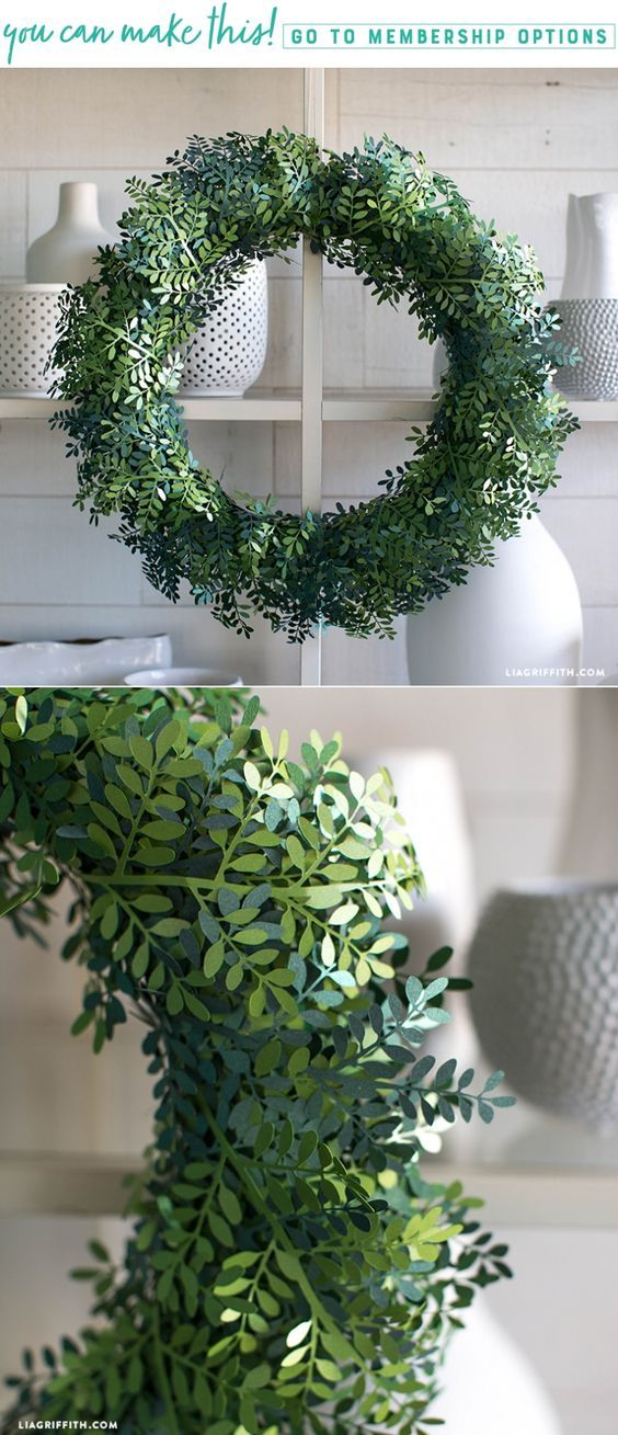 SVG Cut File for making a Gorgeous Paper Boxwood Wreath - Lia Griffith - www.liagriffith.com #diywreath #diywreaths #paper #paperart #diyproject #diyprojects #diydecor #madewithlia